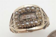Pearl Locket Mourning Ring c1820 Antique Georgian English 9K Gold Seed