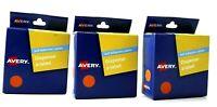 Dispenser Labels 3 x Avery Orange 14mm Round (2x1050 Labels)  937240
