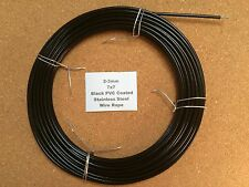 2-3mm x 10m Black PVC Coated Stainless Steel Wire Rope 7x7 18/8 304 INOX