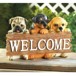 Cute Decorative Puppies Doggie Dog Welcome Home Plaque Sign