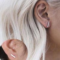 Unisex Gold Silver Long Sterling Ear Stud Handmade Trendy Earrings Jewelry Gifts