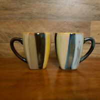 "Set of 2 Tabletops Unlimited York Striped 4 3/4"" Coffee Cups/Mugs"