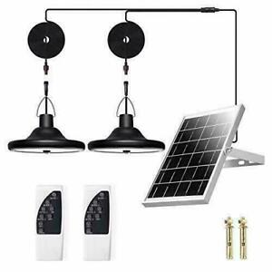 Solar LED Double Head Pendant Light Outdoor Indoor Garden Lamp Lights Camping US