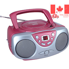 SRCD243M-PINK Sylvania SRCD243 Portable CD Player with AM FM Radio Boombox Pink