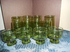 VINTAGE GREEN PEDESTAL GLASSES  4 DRINK/ 4 JUICE/ 4 DESSERT EUC