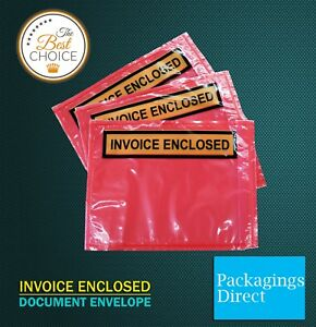 1000x Invoice Enclosed Pouch 115 x 150mm RED Document Envelope Sticker