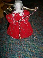 VINTAGE HANDMADE Victorian Angel Small Christmas Tree Topper - 6 Inches