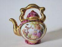 Vintage Limoges Mini Teapot, Monarch, Hand Finished Porcelain Miniature Tea Pot