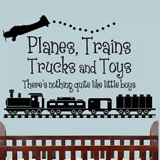 PLANES TRAINS TRUCKS TOYS BOYS Bedroom Nursery Vinyl Wall Art Decal