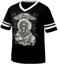 Chief Chiefin Indian Peace Pipe Native American  Retro Ringer T-shirt
