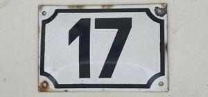 vintage ISRAELI enamel porcelain number 17 street  house  sign # 17