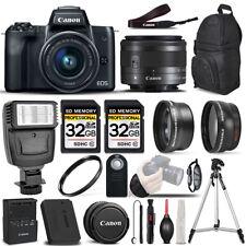 Canon EOS M50 Mirrorless Digital SLR Camera - 3 Lens Kit + 64GB + PRO FLASH