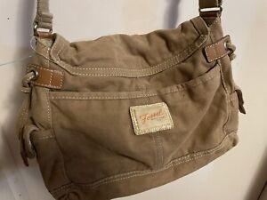 Fossil  Tan Corduroy Messenger Crossbody Bag Leather Trim