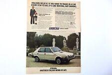 1979 Fiat Strada Original Print Ad Car Automobile