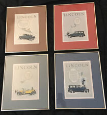 Four Framed Vintage 1920's LINCOLN Ford Motor Company Automobile Car Print Ads