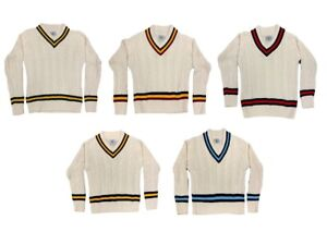 Mens Cricket Jumper V Neck Long Sleeve Casual Wear Cable Knitted Tank top XS-XXL