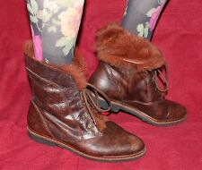 80er 80s Vintage LEDER SCHNÜRSTIEFEL LACE UP ANKLE BOOTS Stiefeletten 39 Schuhe