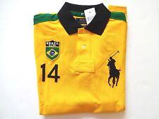 New Ralph Lauren Polo Custom Fit Big Pony Yellow 100% Cotton Brazil Shirt sz S