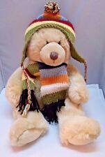 """Tri Russ Tan Teddy Bear Harvest Moon w/ Hat & Scarf 16"""""""