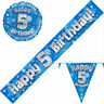 5th Birthday Bunting Flags Banners Balloons Blue Party Decorations Age 5 Boys
