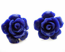 Fashion Jewelry Coral BLUE 925 Sterling Silver Stud Earrings
