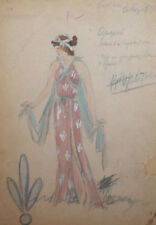 Vintage watercolor drawing woman theatre/opera costume design signed
