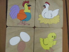 HANDMADE WOODEN SET 4 CHICKEN BEG  PUZZLES