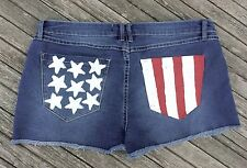 2.1 Denim Short Shorts 30 Stars and Stripes on Back Pockets Patriotic USA