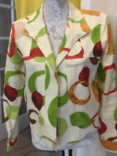 Transistions Colorful Print Linen Open Blazer Jacket. Medium