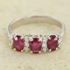 anillo de ORO blanco 18 ct 750 RUBÍES y diamantes Trilogy de mujer con Ruby