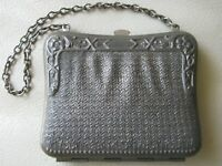 Antique Victorian Faux Mesh Floral Silver Metal Lined Card Case Coin Purse #2