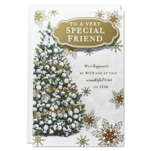 SPECIAL FRIEND CHRISTMAS CARD ~ GOLD TREE DESIGN - QUALITY CARD & NICE VERSE