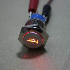 19mm 12V Red LED Momentary Push Button Metal Switch car boat speakers Bells horn