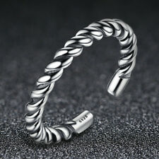 Retro Style 925 Sterling Silver Opening Adjustable Twist Band Ring for Women/Men
