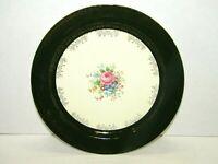 "Vintage Taylor Smith Taylor Green Gilt Gold Trim Floral TST 10"" Dinner Plate"