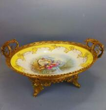 Antique LARGE Sevres Handpainted Porcelain Tazza with Honey Guilding Metal Base