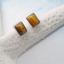 Tigerauge eckig gold braun edel Design Ohrstecker Ohrringe 925 Sterling Silber