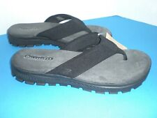 New SKECHERS Black Mens Flip Flop Sandals Relaxed Fit Memory Foam 65151 Size 13