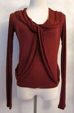 SOPHIA KOKOSALAKI Rust Stretchy Silk Crepe Draped Top - Sz IT 40/M