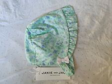 NWT Janie and Jack 0-3 months green floral Bonnet Hat