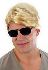 80's Street Blonde Mixed Brown Wig George Michael Wham Fancy Dress Costume