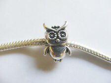 Antique Silver Colour Owl Charm Bead for Charm Bracelets -15mm