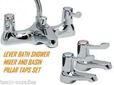 LEVER BATH SHOWER MIXER KIT SET AND BASIN PILLAR TAPS PAIR QUARTER TURN PACK HST