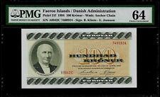 Faeroe Islands 100 Kronur 1994 PMG 64 UNC  P#21f  Danish Administration