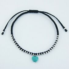 Handcrafted bracelet black cotton macrame Faceted Turquoise Heart & Silver beads
