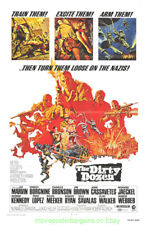 THE DIRTY DOZEN MOVIE POSTER Original 1973 Re-Release One Sheet DAMAGED !!