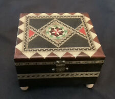 Vintage Inlaid Wood Music Box Brass Clasp Red Lined Jewelry