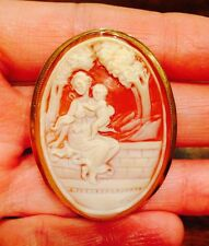 RARE LARGE! Signed FRONT & BACK CARVED CAMEO Pendant BROOCH Pin 14K GOLD ITALIAN