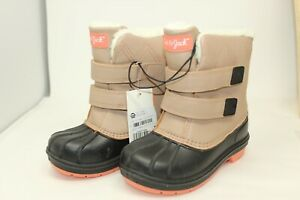 NWT Cat & Jack Girls Size 11 Black & Taupe Insulated Waterproof Winter Boots