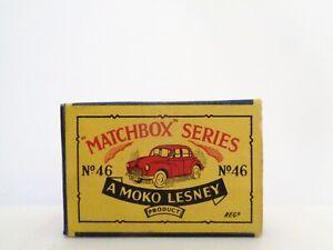 box for 1958 MOKO Lesney MATCHBOX No.46 'MORRIS MINOR'---see photos & more boxes